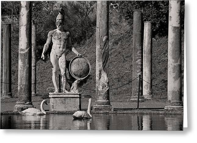 Ancient Ruins Sculptures Greeting Cards - Hadrians Swans Greeting Card by Dan Bernard