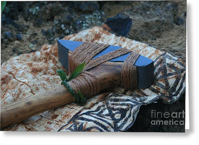 Ourjrny Greeting Cards - Hafted Hawaiian Adze Wailea Maui Hawaii Greeting Card by Sharon Mau