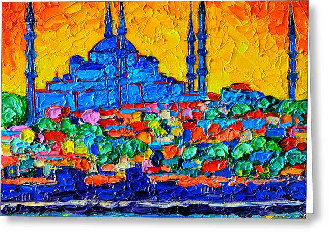 Green Abstract Greeting Cards - Hagia Sophia At Sunset Istanbul Abstract Cityscape Palette Knife Oil Painting By Ana Maria Edulescu Greeting Card by Ana Maria Edulescu