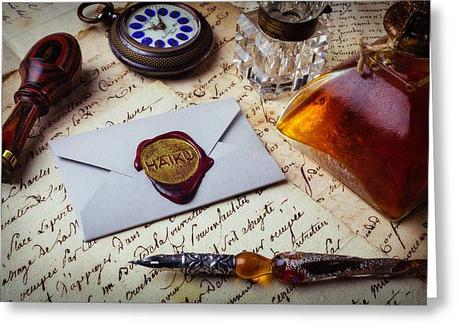 Haiku Wax Seal Greeting Card by Garry Gay