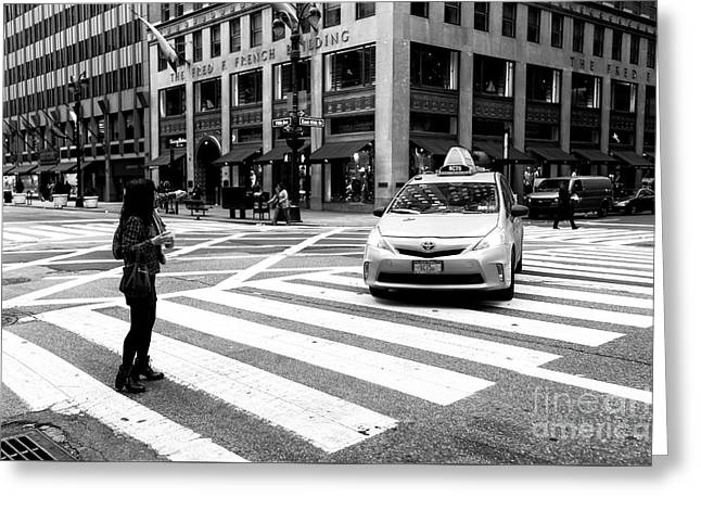 Hailing A Cab In Nyc Greeting Card by John Rizzuto