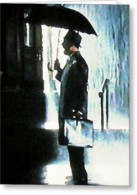 Hailing A Cab In The Rain Greeting Card by John Malone