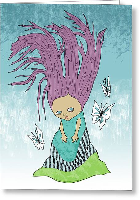Hair Is A Tree Greeting Card by Lindsey Cormier