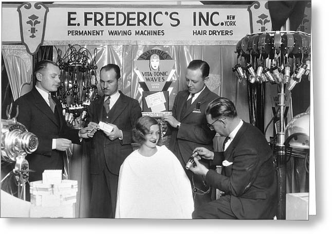 Hair Salon Demonstration Greeting Card by Underwood Archives