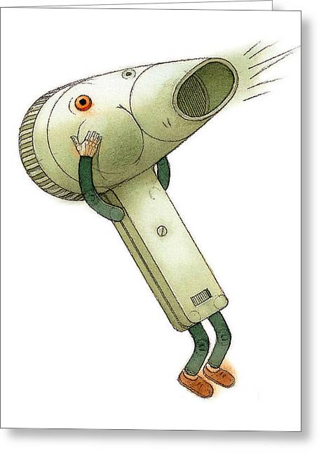 Hairdryer Greeting Card by Kestutis Kasparavicius