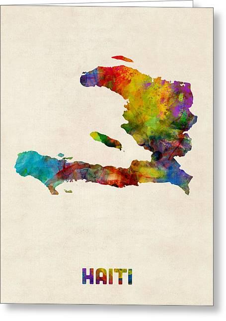 Haiti Watercolor Map Greeting Card by Michael Tompsett
