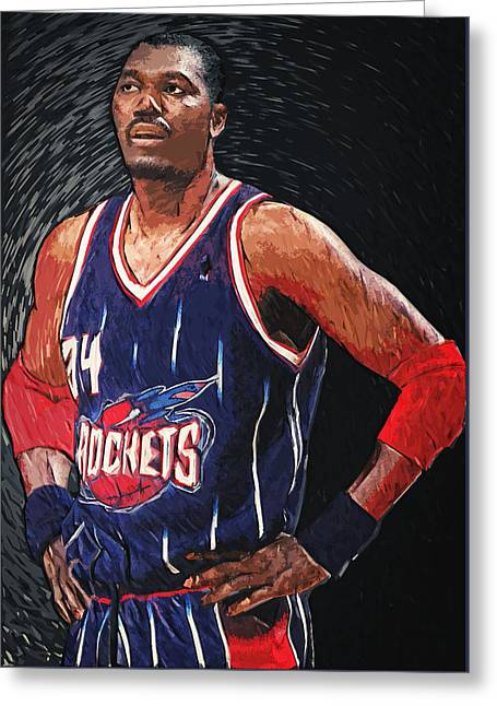 Artest Houston Rockets Greeting Cards - Hakeem Olajuwon Greeting Card by Taylan Soyturk