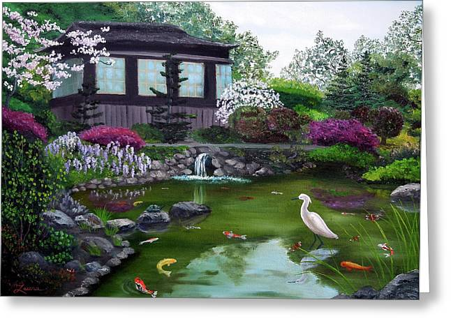 Wisteria Greeting Cards - Hakone Gardens Pond in the Spring Greeting Card by Laura Iverson