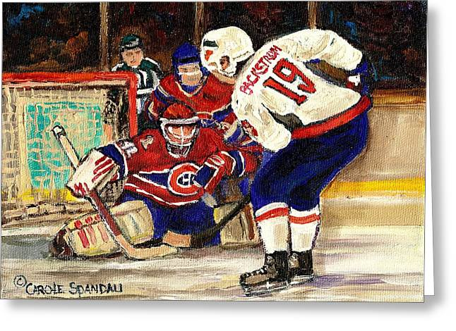 Montreal Winter Scenes Paintings Greeting Cards - Halak Blocks Backstrom In Stanley Cup Playoffs 2010 Greeting Card by Carole Spandau