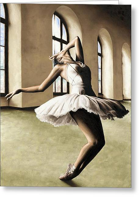 Tutus Paintings Greeting Cards - Halcyon Ballerina Greeting Card by Richard Young