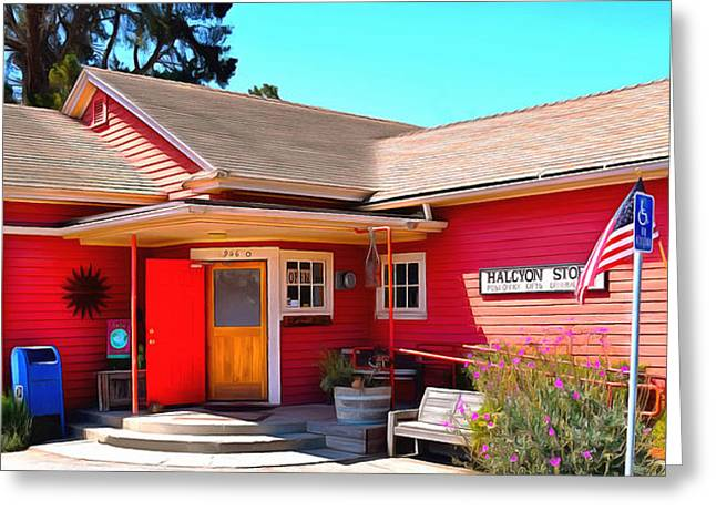 Wooden Building Paintings Greeting Cards - Halcyon Store Halcyon California Greeting Card by Barbara Snyder