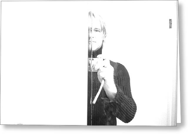 Recently Sold -  - Self-portrait Photographs Greeting Cards - Half and Half Greeting Card by Gerard Yates