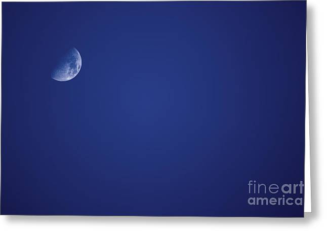 Moonlit Night Greeting Cards - Half Blue Moon Greeting Card by Ryan Jorgensen