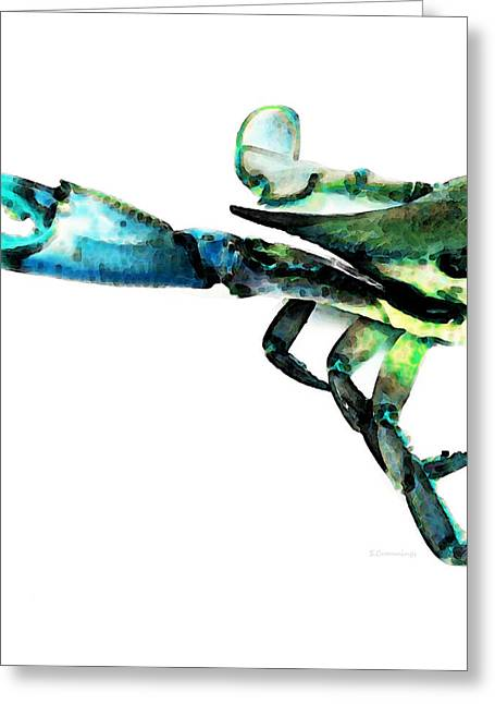 Fresh Mixed Media Greeting Cards - Half Crab - The Left Side Greeting Card by Sharon Cummings