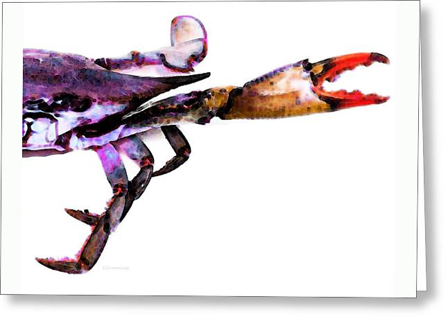 Crab Greeting Cards - Half Crab - The Right Side Greeting Card by Sharon Cummings