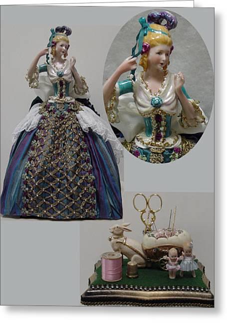 Antique Ceramics Greeting Cards - Half Doll Sewing Cozy Greeting Card by Shirley Heyn