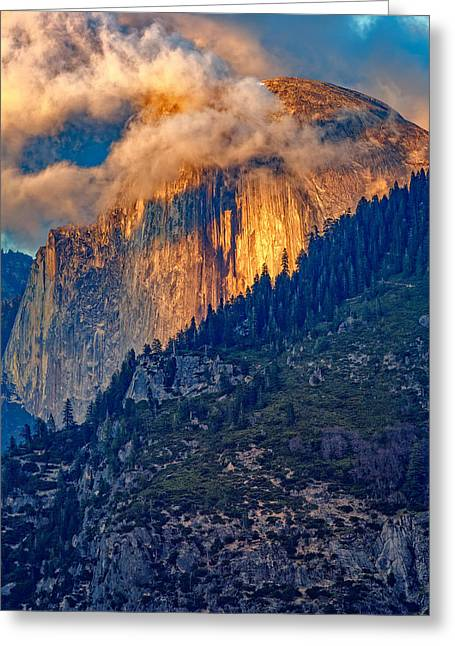 Monoliths Greeting Cards - Half Dome Ablaze Greeting Card by Rick Berk