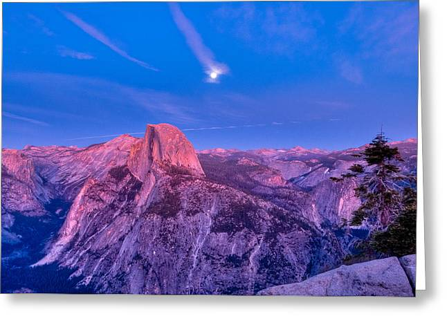 Moonrise Greeting Cards - Half Dome Pink Sunset Full Moon Greeting Card by Connie Cooper-Edwards