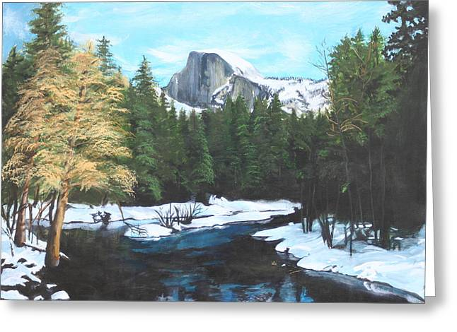 Half Dome Snow Greeting Card by Travis Day