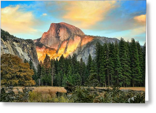 Chuck Kuhn Greeting Cards - Half Dome Sunset Greeting Card by Chuck Kuhn