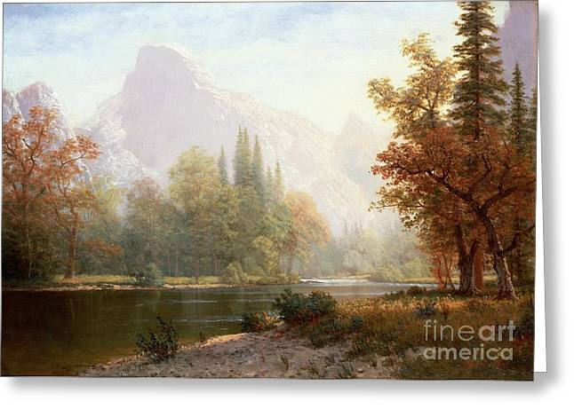 Reflections Paintings Greeting Cards - Half Dome Yosemite Greeting Card by Albert Bierstadt