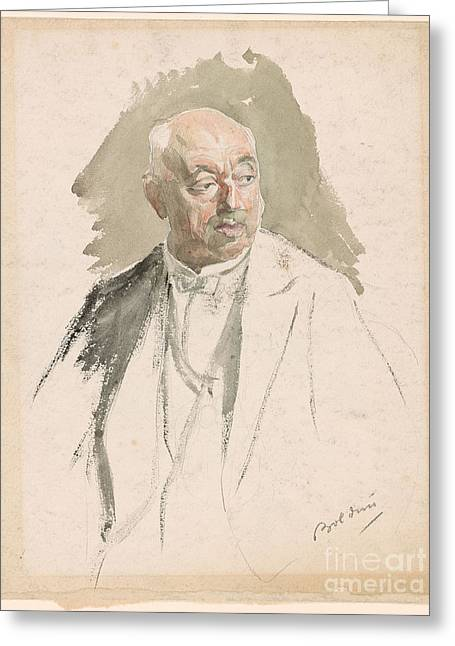 Half Length Study Of An Elderly Man In Evening Dress Greeting Card by Giovanni Boldini