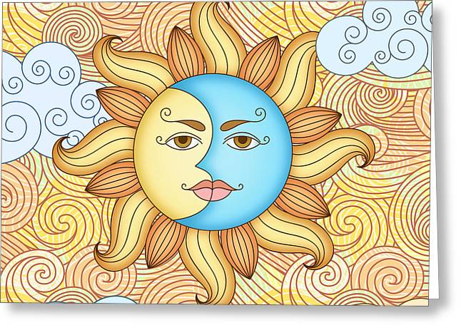 Half Moon And The Sun Greeting Card by Bedros Awak