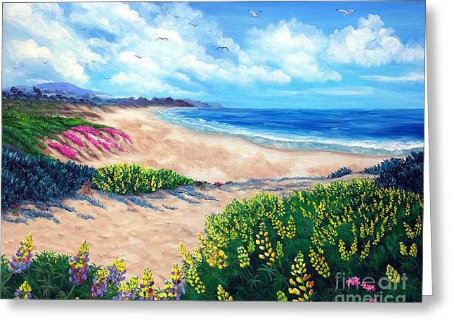 Half Greeting Cards - Half Moon Bay in Bloom Greeting Card by Laura Iverson