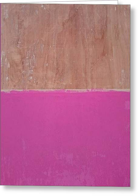 Ply Greeting Cards - Half pink Half wood Greeting Card by Helene Smith