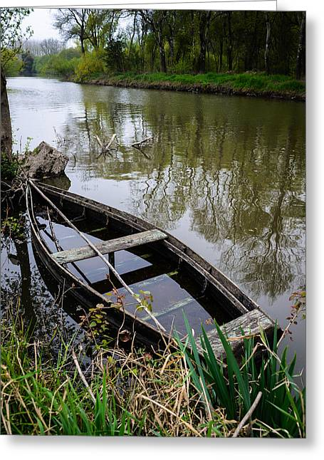 Reflection In Water Greeting Cards - Half Sunken Rowboat Greeting Card by Marco Oliveira