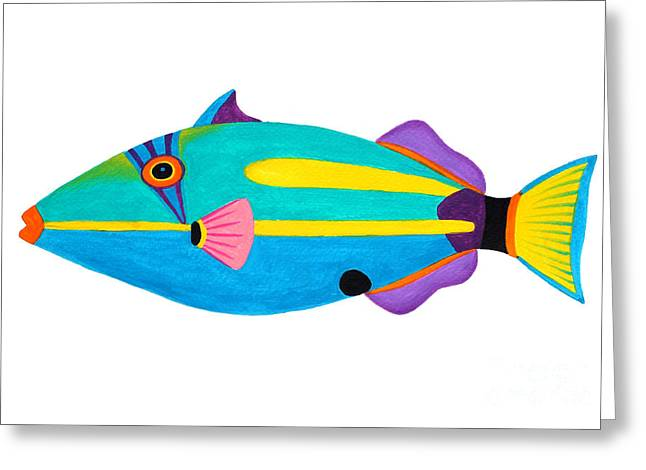 Triggerfish Paintings Greeting Cards - Halfmoon Triggerfish  Greeting Card by Opas Chotiphantawanon