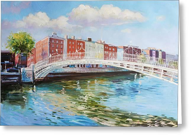 Metal Bridge Greeting Cards - Halfpenny Bridge Dublin Greeting Card by Conor McGuire