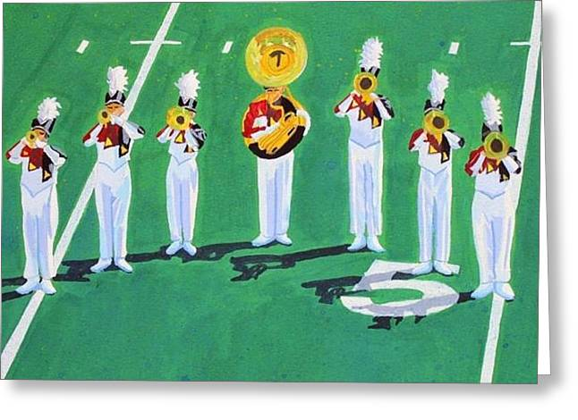 Marching Band Greeting Cards - Halftime Brass Greeting Card by Linda Colvin
