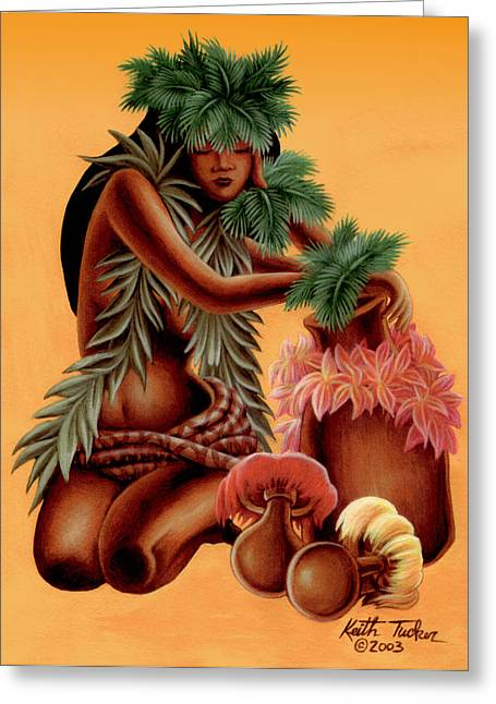Tiki Art Greeting Cards - Halia    Greeting Card by Keith Tucker