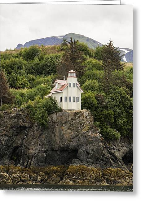 Caves Greeting Cards - Halibut Cove Lighthouse Greeting Card by Phyllis Taylor