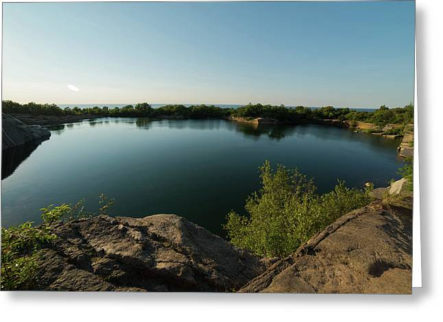 Halibut Point State Park Quarry In Rockport Ma Bright Sun Greeting Card by Toby McGuire