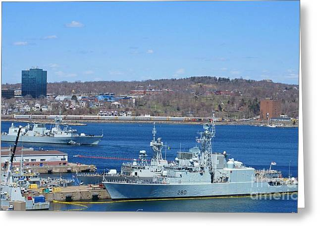 Boats In Harbor Greeting Cards - Halifax Naval Yards Greeting Card by John Malone