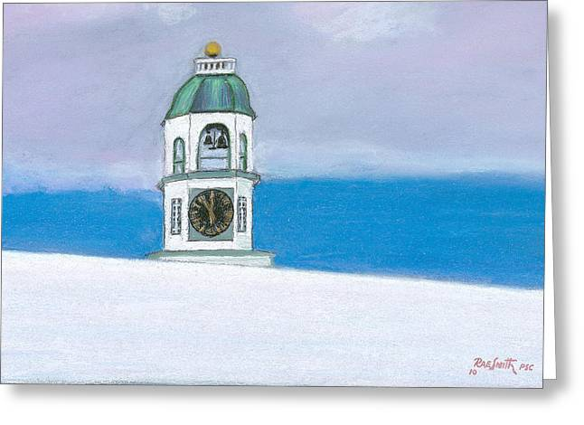 Clock Pastels Greeting Cards - Halifax Old Town Clock Greeting Card by Rae  Smith PSC