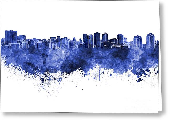 Halifax Art Greeting Cards - Halifax skyline in blue watercolor on white background Greeting Card by Pablo Romero