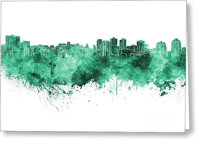 Halifax Art Greeting Cards - Halifax skyline in green watercolor on white background Greeting Card by Pablo Romero