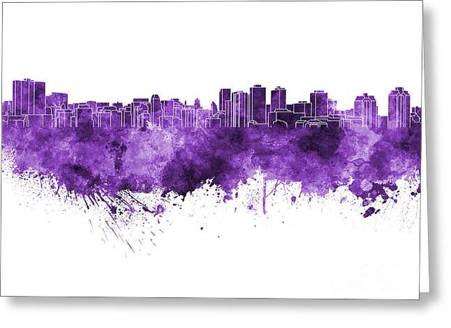 Halifax Art Greeting Cards - Halifax skyline in purple watercolor on white background Greeting Card by Pablo Romero
