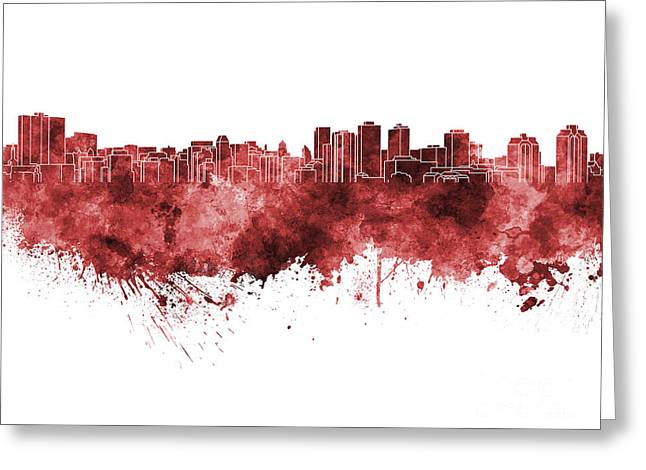 Halifax Art Greeting Cards - Halifax skyline in red watercolor on white background Greeting Card by Pablo Romero
