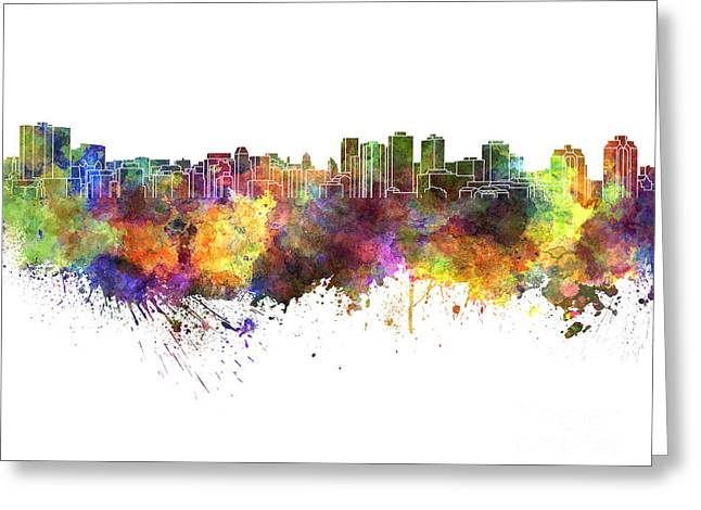 Halifax Art Greeting Cards - Halifax skyline in watercolor on white background Greeting Card by Pablo Romero
