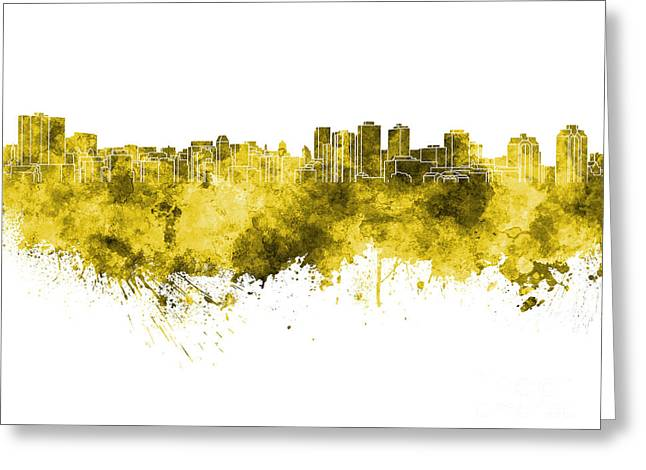 Halifax Art Greeting Cards - Halifax skyline in yellow watercolor on white background Greeting Card by Pablo Romero