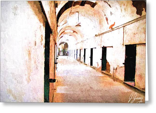 Condemned Paintings Greeting Cards - Hall of Displaced Souls Greeting Card by Joshua Zaring