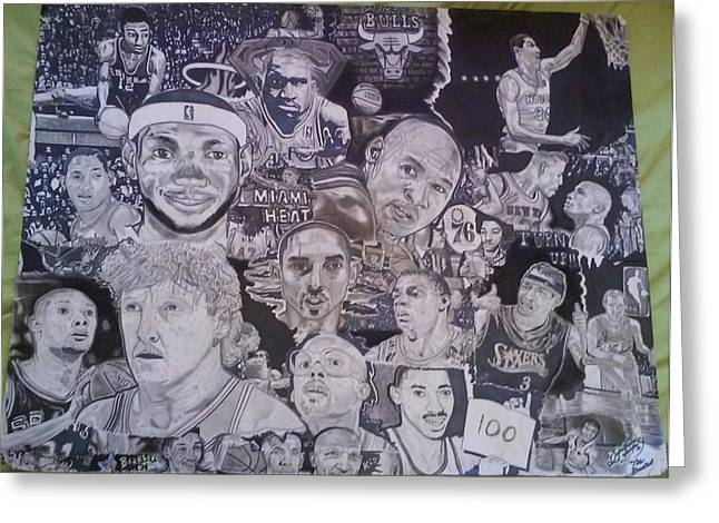 Larry Bird Drawings Greeting Cards - Hall Of Fame Greeting Card by Demetrius Washington