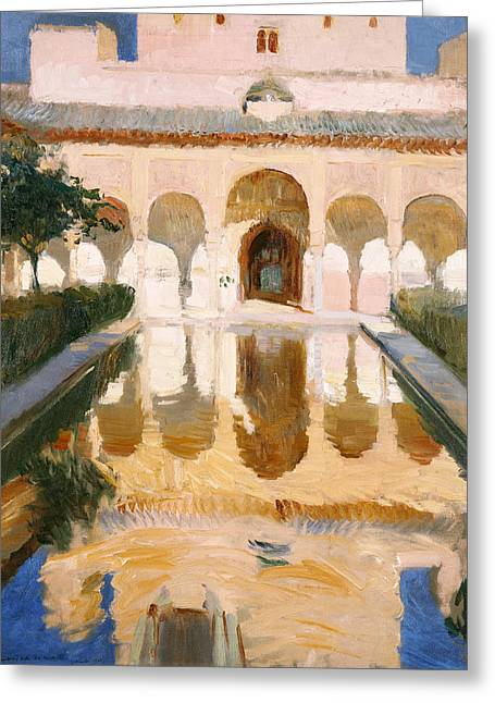 Hall Of The Embassadors Alhambra Granada Greeting Card by Joaquin Sorolla y Bastida