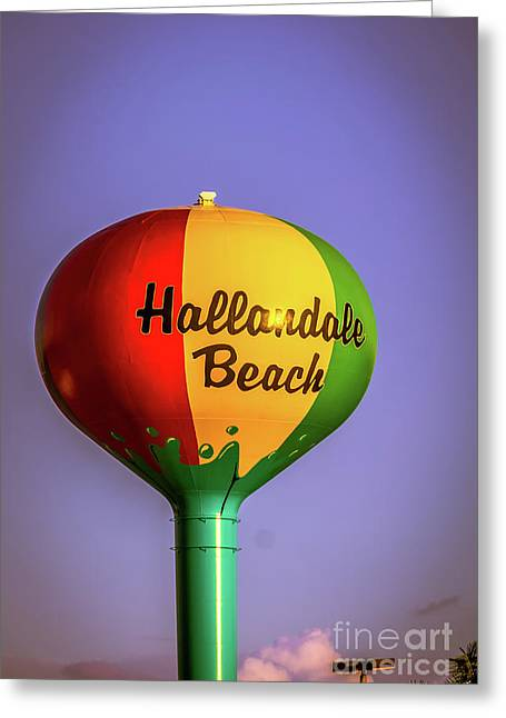 Hallandale Beach Water Tower Greeting Card by Claudia M Photography