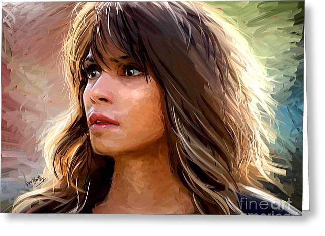 Halle Greeting Cards - Halle Berry Greeting Card by Dori Hartley