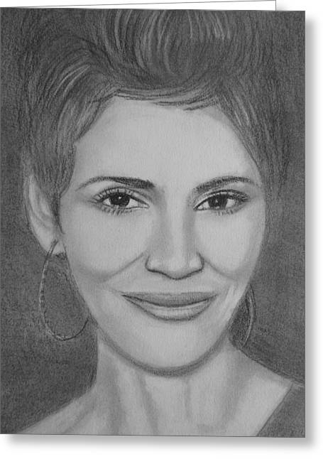 Halle Berry Greeting Cards - Halle Berry Greeting Card by Paul Blackmore
